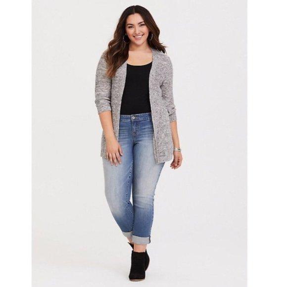 Torrid Pointelle Knit Gray Open Cardigan Size 1